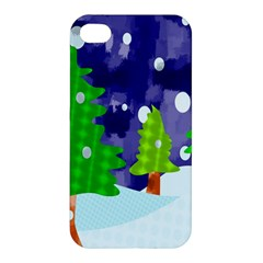 Christmas Trees And Snowy Landscape Apple Iphone 4/4s Premium Hardshell Case by Simbadda