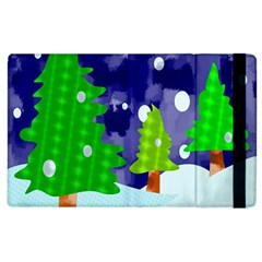 Christmas Trees And Snowy Landscape Apple Ipad 3/4 Flip Case by Simbadda