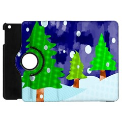 Christmas Trees And Snowy Landscape Apple Ipad Mini Flip 360 Case by Simbadda