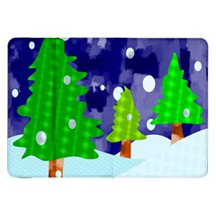 Christmas Trees And Snowy Landscape Samsung Galaxy Tab 8 9  P7300 Flip Case by Simbadda