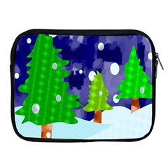 Christmas Trees And Snowy Landscape Apple Ipad 2/3/4 Zipper Cases by Simbadda