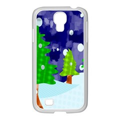 Christmas Trees And Snowy Landscape Samsung Galaxy S4 I9500/ I9505 Case (white) by Simbadda