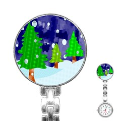 Christmas Trees And Snowy Landscape Stainless Steel Nurses Watch by Simbadda