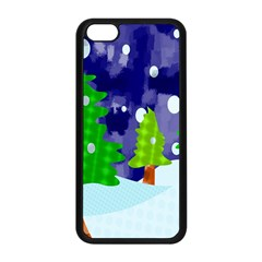 Christmas Trees And Snowy Landscape Apple Iphone 5c Seamless Case (black) by Simbadda