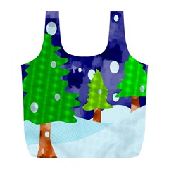 Christmas Trees And Snowy Landscape Full Print Recycle Bags (l)  by Simbadda