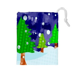 Christmas Trees And Snowy Landscape Drawstring Pouches (large)  by Simbadda