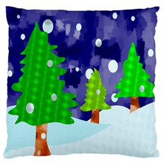 Christmas Trees And Snowy Landscape Large Flano Cushion Case (two Sides) by Simbadda