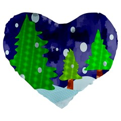 Christmas Trees And Snowy Landscape Large 19  Premium Flano Heart Shape Cushions by Simbadda