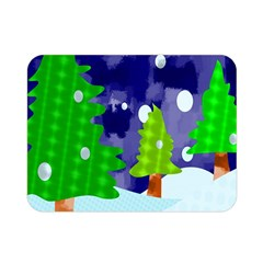 Christmas Trees And Snowy Landscape Double Sided Flano Blanket (mini)  by Simbadda