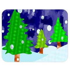 Christmas Trees And Snowy Landscape Double Sided Flano Blanket (medium)  by Simbadda