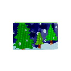 Christmas Trees And Snowy Landscape Cosmetic Bag (xs) by Simbadda
