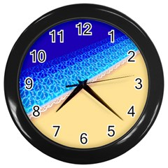 Beach Sea Water Waves Sand Wall Clocks (black) by Alisyart