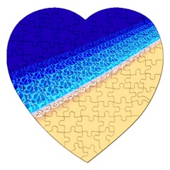 Beach Sea Water Waves Sand Jigsaw Puzzle (heart) by Alisyart