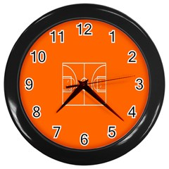Basketball Court Orange Sport Orange Line Wall Clocks (black) by Alisyart