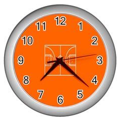 Basketball Court Orange Sport Orange Line Wall Clocks (silver)  by Alisyart