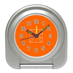 Basketball Court Orange Sport Orange Line Travel Alarm Clocks by Alisyart