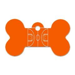 Basketball Court Orange Sport Orange Line Dog Tag Bone (two Sides) by Alisyart