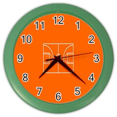 Basketball Court Orange Sport Orange Line Color Wall Clocks by Alisyart