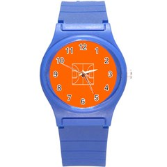 Basketball Court Orange Sport Orange Line Round Plastic Sport Watch (s) by Alisyart