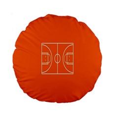Basketball Court Orange Sport Orange Line Standard 15  Premium Round Cushions by Alisyart
