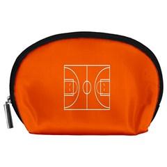 Basketball Court Orange Sport Orange Line Accessory Pouches (large)  by Alisyart