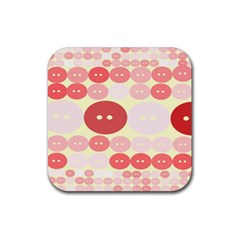 Buttons Pink Red Circle Scrapboo Rubber Square Coaster (4 Pack)  by Alisyart
