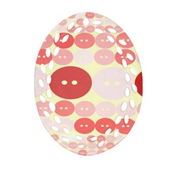 Buttons Pink Red Circle Scrapboo Oval Filigree Ornament (two Sides) by Alisyart