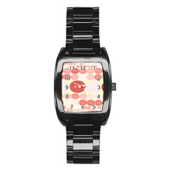 Buttons Pink Red Circle Scrapboo Stainless Steel Barrel Watch by Alisyart