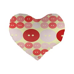 Buttons Pink Red Circle Scrapboo Standard 16  Premium Flano Heart Shape Cushions by Alisyart