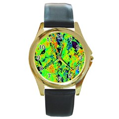 Bow Canopy Height Satelite Map Round Gold Metal Watch by Alisyart