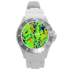 Bow Canopy Height Satelite Map Round Plastic Sport Watch (l) by Alisyart