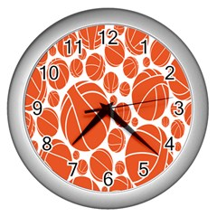 Basketball Ball Orange Sport Wall Clocks (silver)  by Alisyart