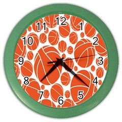 Basketball Ball Orange Sport Color Wall Clocks by Alisyart