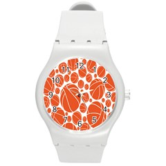 Basketball Ball Orange Sport Round Plastic Sport Watch (m) by Alisyart