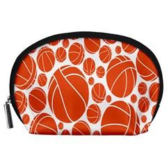 Basketball Ball Orange Sport Accessory Pouches (large)  by Alisyart