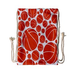Basketball Ball Orange Sport Drawstring Bag (small) by Alisyart