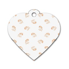 Birds Sketch Pattern Dog Tag Heart (one Side) by dflcprints