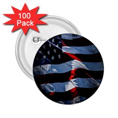 Grunge American Flag Background 2 25  Buttons (100 Pack)  by Simbadda