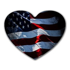 Grunge American Flag Background Heart Mousepads by Simbadda