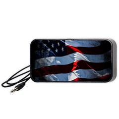 Grunge American Flag Background Portable Speaker (black) by Simbadda