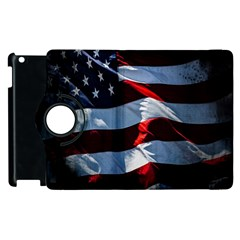 Grunge American Flag Background Apple Ipad 2 Flip 360 Case by Simbadda