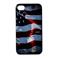 Grunge American Flag Background Apple Iphone 4/4s Hardshell Case With Stand by Simbadda