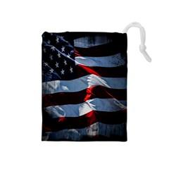 Grunge American Flag Background Drawstring Pouches (medium)  by Simbadda