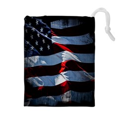 Grunge American Flag Background Drawstring Pouches (extra Large) by Simbadda