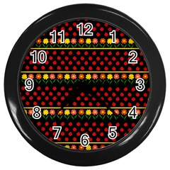 Ladybugs And Flowers Wall Clocks (black) by Valentinaart