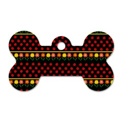Ladybugs And Flowers Dog Tag Bone (two Sides) by Valentinaart