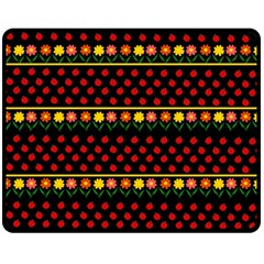 Ladybugs And Flowers Fleece Blanket (medium)  by Valentinaart