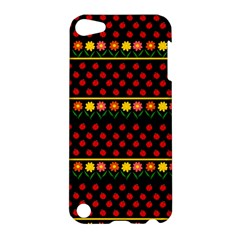 Ladybugs And Flowers Apple Ipod Touch 5 Hardshell Case by Valentinaart