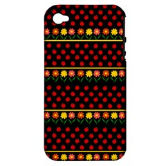 Ladybugs And Flowers Apple Iphone 4/4s Hardshell Case (pc+silicone) by Valentinaart