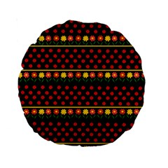 Ladybugs And Flowers Standard 15  Premium Round Cushions by Valentinaart